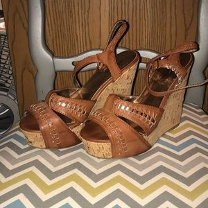 Charlotte Russe Brown and Gold wedges